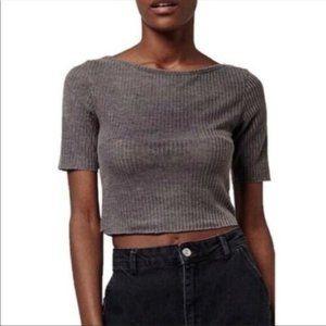 Topshop - Crop Slash Tee Gray Ribbed Knit …